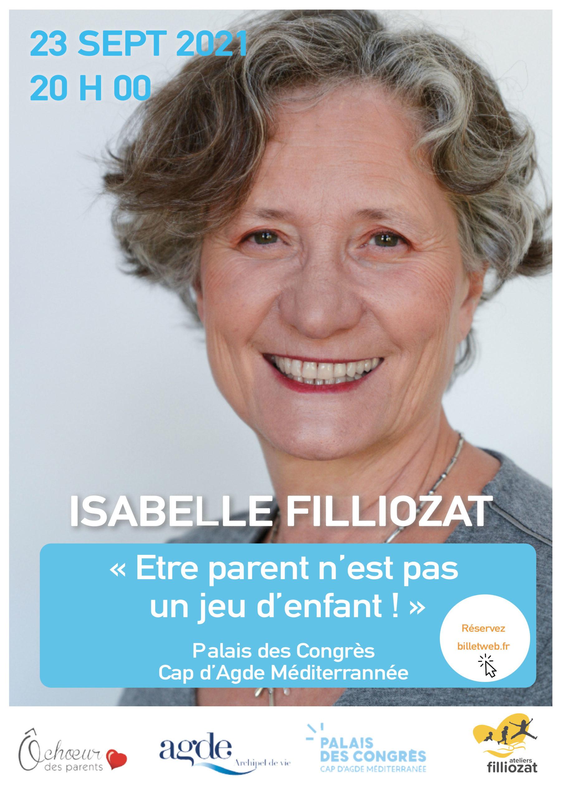 Affiche conférence Cap D'agde 23 septembre 2021 - Isabelle Filliozat